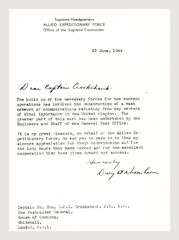letter from dwight d eisenhower thanking royal mail staff for their help in the run up to d day 22 june 1944